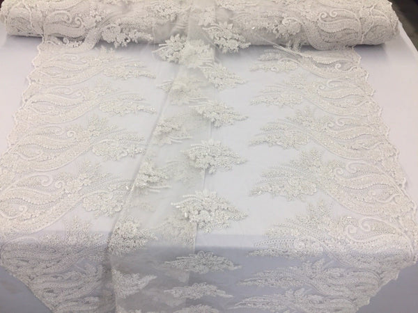 Jerusalem's Beaded fabric - Embroidered Lace White For Bridal Veil By The Yard