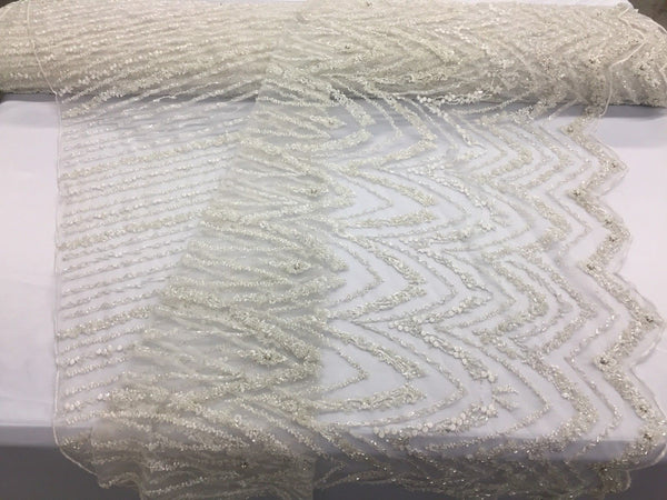 Jerusalem's Beaded Bridal Lace Fabric By The Yard - Embroidered Mesh Wedding Dress Ivory