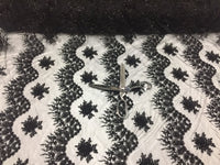 Jerusalem's Mesh lace fabric Fantastic Black Pearl Design Embroidery And Heavy By The Yard