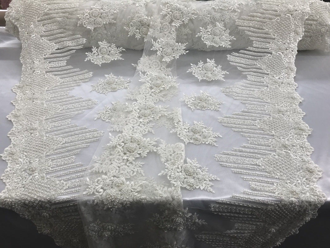 Jerusalem's Beaded Lace Fabric - Embroidered Mesh Floral/Flower Bridal Ivory By The Yard
