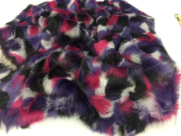 Faux Fur Fabric Multicolor Purple Fuschia By Yard