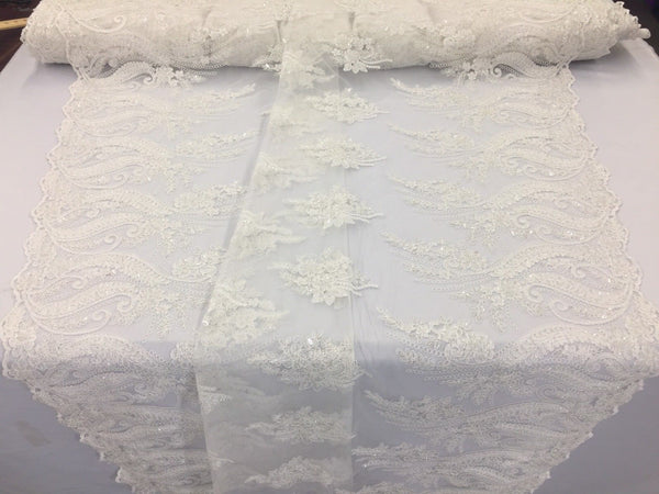 Jerusalem's Beaded fabric - Embroidered Lace Ivory For Bridal Veil By The Yard