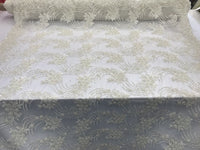 Jerusaem Ivory Design Embroider Mesh White Beaded Sequins Lace Fabric By Yard
