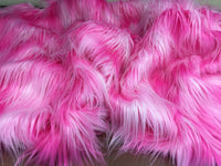 "FAUX FAKE FUR 3 TONE RAINBOW LONG PILE FABRIC 60"" WIDTH SOLD BY THE YARD PINK"