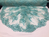 Super Beaded Fabric Mesh Lace For Bridal Wedding Dress Mint - By The Yard.