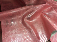 METALLIC AFRICAN CROCODILE EMBOSSED VINYL FABRIC SOLD BY YARD 2 TONE PINK SILVER