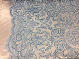 Jerusalem's Beaded Fabric - Embroidery on Polyester Mesh Wedding Dress Blue By The Yard