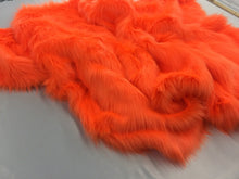 Load image into Gallery viewer, Luxurious Faux Fur Fabric Mongolian Design Orange Sold By Yard