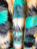 Majestic Faux Fur Fabric Multi Color Turquoise Top Luxury. Sold By The Yard