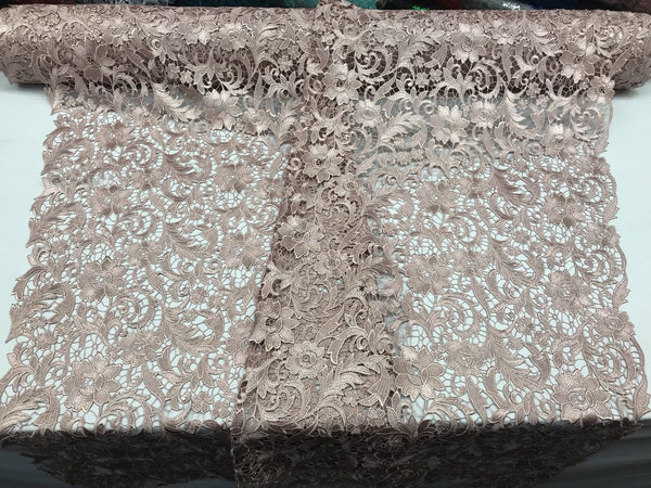 DK ROSE FLORAL EMBROIDERY GUIPURE LACE FABRIC FRENCH BRIDAL VEIL BY THE YARD