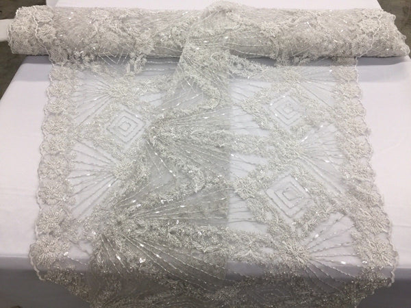 Jerusalem's Beaded Lace Fabric with Embroidery on Polyester Mesh Wedding Dress By The Yard
