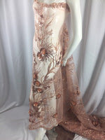 Jerusalem's 3D Flower Fabric Blush Bridal Wedding Dress Embroidery Mesh Sequins Beads Shiny