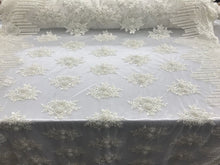 Load image into Gallery viewer, Jerusalem's Beaded Lace Fabric - Embroidered Mesh Floral/Flower Bridal Ivory By The Yard