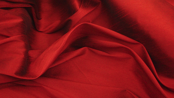 "Shantung Dupioni Faux Silk Fabric , sold by Yard, 58"" wide. Red"