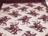 Super Beaded Fabric Mesh Lace For Bridal Wedding Dress Burgundy - By The Yard.
