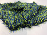 Luxurious Faux Fur Fabric Multicolor Black Neon Blue. Sold By The Yard