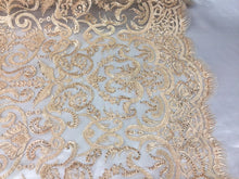 Load image into Gallery viewer, Jerusalem's Beaded Fabric - Embroidery on Polyester Mesh Wedding Dress Lt Gold By The Yard