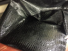 Load image into Gallery viewer, SHINY CROCODILE EMBOSSED FAUX LEATHER VINYL FABRIC BLACK UPHOLSTERY BY YARD