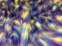 "FAUX FAKE FUR 3 TONE RAINBOW LONG PILE FABRIC 60"" WIDTH SOLD BY YARD ROYAL BLUE"