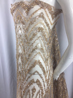 Jerusalem's Beaded fabric By The Yard For Bridal Wedding Dress Mesh Lace With Sequins Gold