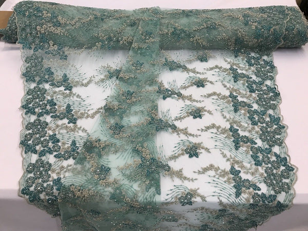 JERUSALEM'S EMBROIDERY BEADED - LACE FABRIC BY THE YARD TEAL SILVER FLOWER MESH DRESS BRIDAL