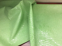 SHINY ALLIGATOR EMBOSSED FAUX LEATHER UPHOLSTERY VINYL FABRIC BY YARD MINT
