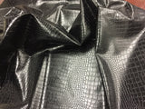 DRAGON GATOR UPHOLSTERY VINYL FABRIC - Onyx Black - BY YARD 2 TONE LUXURY