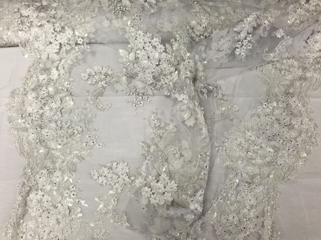 Jerusalem's Mesh Lace Fabric 3D Flowers White Embroidered With Sequins shiny-by the yard