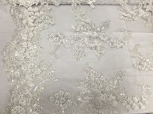 Load image into Gallery viewer, Jerusalem's Mesh Lace Fabric 3D Flowers White Embroidered With Sequins shiny-by the yard