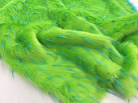 Luxurious Faux Fur Fabric Multicolor Spikes Green. Sold By The Yard