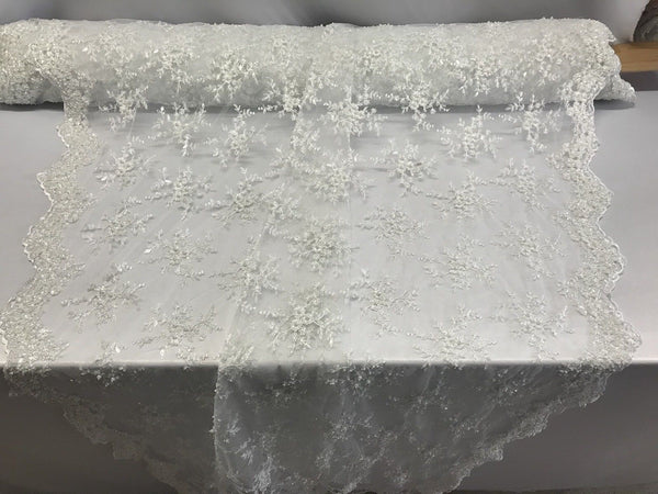 Jerusalem's  Best White Mesh / Embroidery Beaded Lace & Sequins Fabric - Sold By Yard