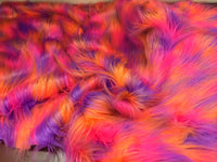 "FAUX FAKE FUR 3 TONE RAINBOW LONG PILE FABRIC 60"" WIDTH SOLD BY YARD CORAL"