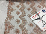 Jerusalem's Mesh lace fabric Fantastic Blush Pearl Design Embroidery And Heavy By The Yard