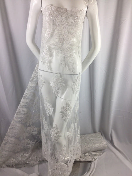 Beaded fabric - Embroidered Lace White For Bridal Veil By The Yard