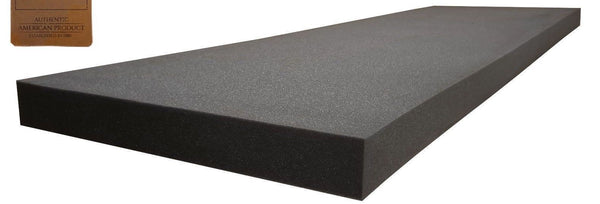 "Professional Upholstery Foam 2"" Thick, 18"" Wide X 72"" regular density. Charcoal"