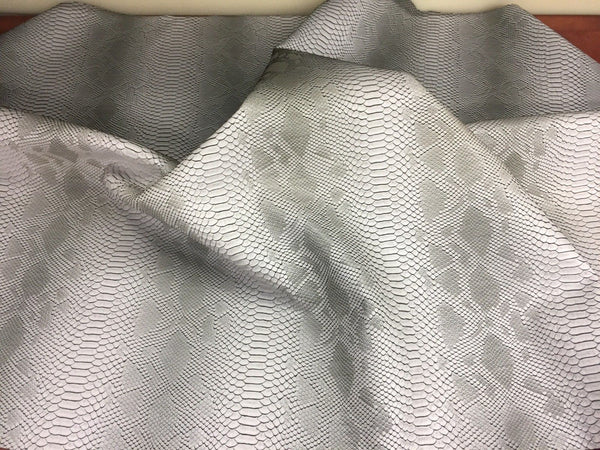 VIPER SOPYTHANA EMBOSSED SNAKE SKIN VINYL LEATHER FABRIC UPHOLSTERY COOL SILVER