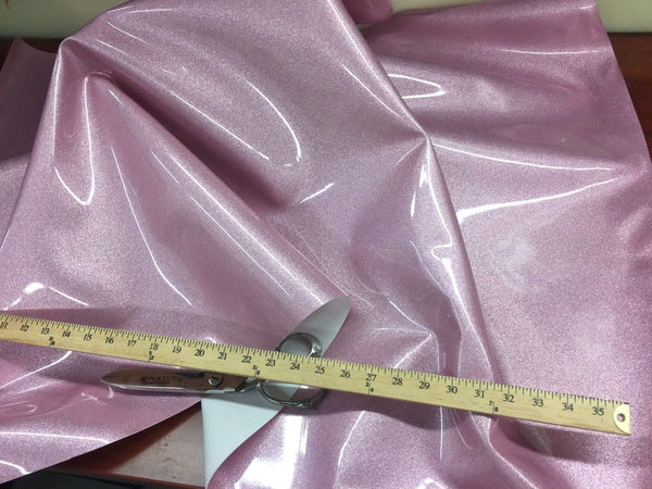 "VINYL FAUX FAKE LEATHER UPHOLSTERY SPARKLE GLITTER FABRIC SOLD YARD 54"" PINK"