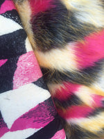 Multicolor Faux Fur Fabric French Design. Sold By The Yard