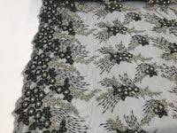 JERUSALEM'S EMBROIDERY BEADED - LACE FABRIC BY THE YARD BLACK MESH DRESS BRIDAL VEIL