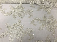 Jerusalem's Mesh Lace Fabric 3D Flowers Ivory Embroidered With Sequins shiny-by the yard