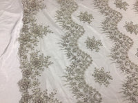 Jerusalem's Mesh lace fabric Fantastic Silver Pearl Design Embroidery And Heavy By The Yard
