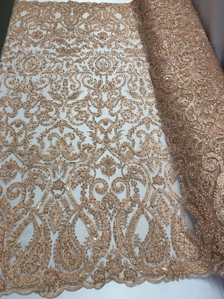 Jerusalem's Lace Fabric By The Yard Peach Embroidered Beaded Bridal Wedding Dress