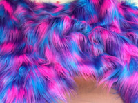 "FAUX FAKE FUR 3 TONE RAINBOW LONG PILE FABRIC 60"" WIDTH SOLD BY YARD TURQUOISE"