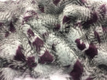 FEATHER/FEATHERD FAUX FUR FABRIC - Aubergine (LONG PILE) /YRD SOLD BTY