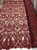 Jerusalem's Lace Fabric By The Yard Burgundy Embroidered Beaded Bridal Wedding Dress