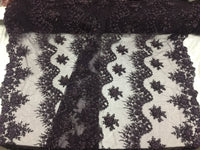 Jerusalem's Mesh lace fabric Fantastic Plum Pearl Design Embroidery And Heavy By The Yard