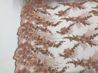 JERUSALEM'S EMBROIDERY BEADED - LACE FABRIC BY THE YARD CORAL MESH DRESS BRIDAL VEIL