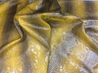 VIPER SOPYTHANA EMBOSSED SNAKE SKIN VINYL LEATHER FABRIC UPHOLSTERY GOLD YARD