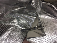 Load image into Gallery viewer, SHINY CROCODILE EMBOSSED FAUX LEATHER VINYL FABRIC SILVER BY YARD