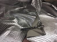 SHINY CROCODILE EMBOSSED FAUX LEATHER VINYL FABRIC SILVER BY YARD